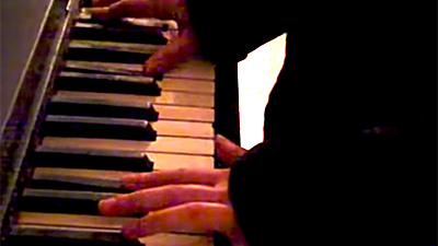 image from music video by Jennie Ochshorn: Moonlight Sonata on broken out-of-tune piano